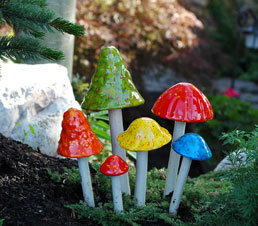Crystal shroomyz garden sculpture