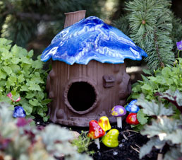 blue fairy house sculpture
