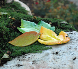 ceramic leaf accent sculpted by JJ Potts Garden artists