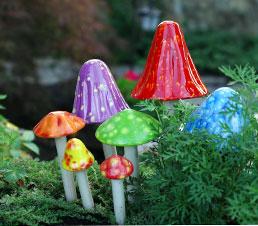 Ceramic Mushroom Garden Sculpture
